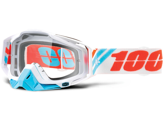 100% Racecraft Anti Fog Clear Goggles hvid/turkis